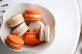 Orange Ginger and Hazelnut Praline Salted Caramel Macarons